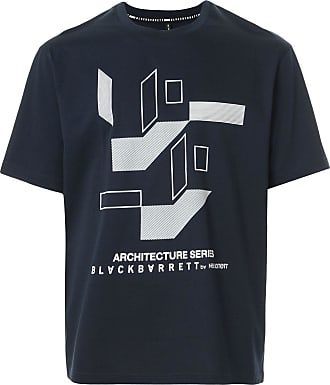 Blackbarrett Camiseta com estampa geométrica e logo - Azul