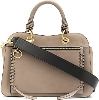 See By Chloé Bolsa tote Tilda whipstitched de couro cinza