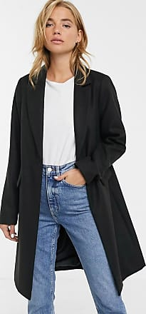 New Look button front coat in black