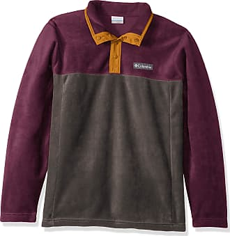 Columbia Mens Steens Mountain Half Snap Fleece Jacket, Shark, Black Cherry, Burnished Amber, Medium