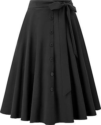 Belle Poque Womens Vintage Clothings Knee Length Side Pockets Buttons Skirts Black(2091-1) X-Large