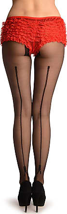 Liss Kiss Black With Woven Back Zip Seam - Black Seamed Designer Tights