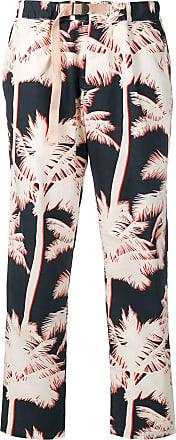 White Sand Calça com estampa de palmeiras - Azul