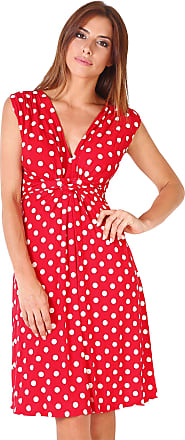 Krisp Polka Dot Dress Twist Knot Front V Neck Mini Swing Dress Party Summer (Red [6147], 16), 6147-REDWHT-16