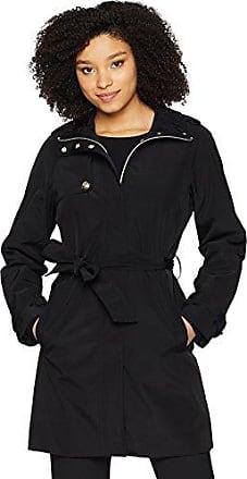 Ivanka Trump Womens Tie Waist Raincoat, Black L