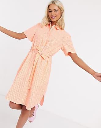 French Connection Orange, ginghamrutig skjortklänning i minilängd med skärp i återvunnet material