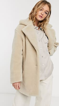 & Other Stories flat faux fur longline jacket in cream