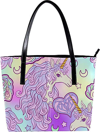 Nananma Womens Bag Shoulder Tote handbag with Rainbow Unicorn Butterfly Drawing Print Zipper Purse PU Leather Top-handle Zip Bags
