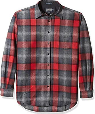 Pendleton Mens Size Long Sleeve Button Front Tall Lodge Shirt, Black/Grey Mix/red Ombre, XXL