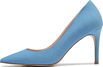 EDEFS Womens Pointy Toe Court Shoes High Heel Pumps Elegant Suede Shoes Lightblue EU45/UK10.5