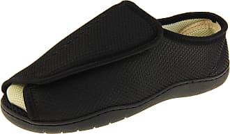 Footwear Studio Mens Womens Black Mesh Adjustable Touch Fastening Orthopaedic Slippers UK 11-12