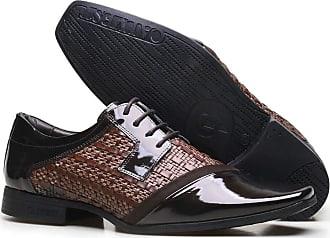 Calvest Sapato Social Masculino em Tressê Aspen e Couro Verniz com Atacador Calvest-ZM3180D112 - Café-39