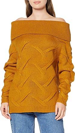 Vila Womens Vicabla Knit New Off Shoulder Top Jumper, Yellow (Golden Oak Golden Oak), Medium
