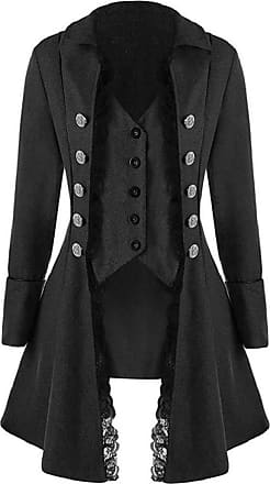 Yvelands Renaissance Jacket Women, Retro Lace Trim Botton Long Sleeve Gothic Tailcoat Outwear Ladies Party Evening Medieval Costume Cosplay Fancy Dress Up Blac