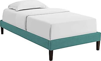 ModWay MOD-5895-TEA Tessie Upholstered Fabric Twin Platform Bed Frame with Squared Tapered Legs, Teal