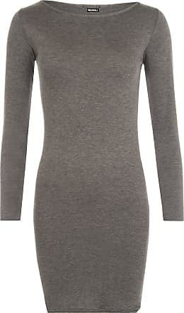 WearAll Ladies Mini Dress Long Sleeved Bodycon Top - Dark Grey - 12/14