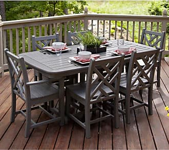 POLYWOOD Outdoor POLYWOOD Chippendale Dining Set - Seats 6, Patio Furniture - PWS121-1-GY