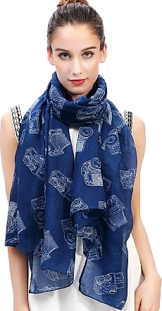 Lina & Lily Vintage Camera Print Womens Scarf Oversized (Blue)