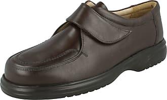 Roamers Mens Roamers Sean Leather Velcro Formal Shoe M460B Brown UK 7