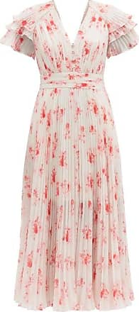 Self Portrait Self-portrait - Pleated Floral-print V-neck Chiffon Midi Dress - Womens - Pink Print