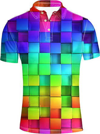 Hugs Idea Colorful Plaid Design Novelty Mens Short Sleeves Sport Jersery Sport Shirt T-Shirt Tee Tops