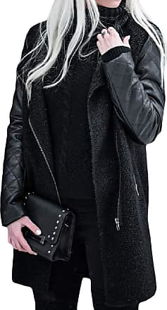 H&E Womens Faux Leather Outwear Jacket Stitching Oblique Zipper Trench Coats Black S