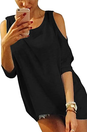 Yoins Cold Shoulder Tops Women Short Sleeve Cut Out Loose Blouse Plain Tunic Casual Shirt Top Black UK 6-8