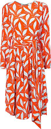 Diane Von Fürstenberg Vestido midi estampado de seda - Vermelho