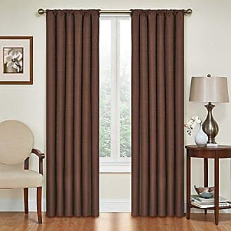 Eclipse Blackout Curtains for Bedroom - Kendall 42 x 63 Insulated Darkening Single Panel Rod Pocket Window Treatment Living Room, Chocolate
