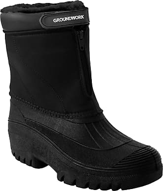Groundwork Womens Ladies Durable Groundwork Water Resistant Snow Rain Thermal Fur Lined Winter Mud Mucker Boots UK Sizes 4-8 (UK 4, Black)