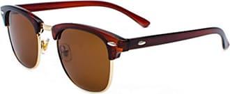 Inlefen Mens Sunglasses Polarized Classic Semi Rimless Sun Glasses for Women Vintage UV400 Sunglasses Brown