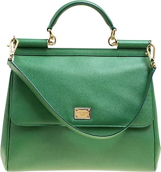 9582b005d8c4 Dolce   Gabbana Dolce And Gabbana Green Leather Large Miss Sicily Top  Handle Bag