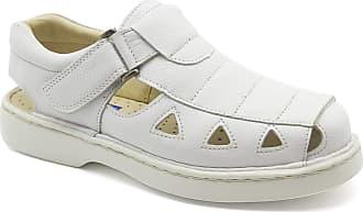 Doctor Shoes Antistaffa Sandália Masculina 302 em Couro Floater Branco Doctor Shoes-Branco-37