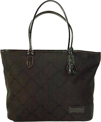 a263c449df0513 1stdibs Longchamp Tote Bag In Chocolate Brown Patent Leatehr & Logo Fabric