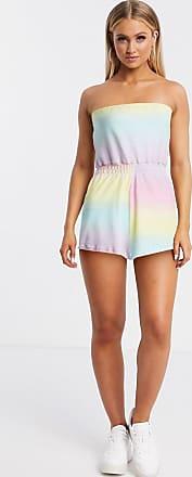 Asos Jersey playsuit van badstof met pastelkleurige ombre print-Multi