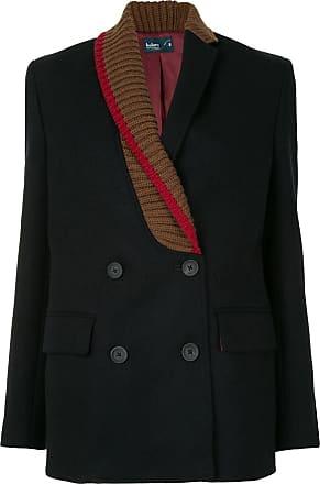 Kolor ribbed lapel double-breasted blazer - Black