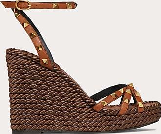 Valentino Garavani Valentino Garavani Rockstud Cowhide Ankle Strap Wedge Sandal 95 Mm Women Tan 100% Pelle Bovina - Bos Taurus 39