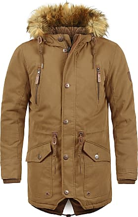 Solid Vidage Mens Parka Outdoor Jacket Winter Coat with Teddy Fleece and Fur Hood with Hood, Size:L, Colour:Cinnamon (5056)