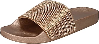 Spot On Ladies Diamante Sliders - Rose Gold Synthetic - UK Size 8 - EU Size 41 - US Size 10