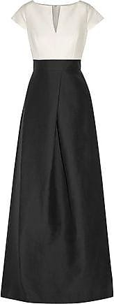 Halston Heritage Halston Heritage Woman Pleated Two-tone Cotton And Silk-blend Faille Gown Black Size 0