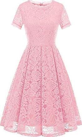 01531d29f3a21 Dresstells Damen Elegant Kleid Spitzenkleid Kurzarm Cocktailkleider Party  Ballkleid Pink L