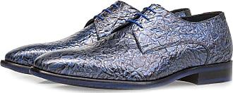 Floris Van Bommel Dunkelblauer Premium Lackleder-Schnürschuh mit Print, Business Schuhe, Designer Schuh, Handgefertigt