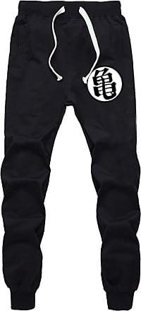 Cosstars Anime Dragon Ball Z Goku Sweatpants Trousers Cosplay Costume Sport Jogging Long Pants with Pockets Black 8 L