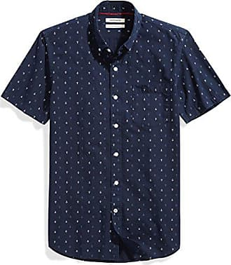 Goodthreads Mens Slim-Fit Short-Sleeve Printed Poplin Shirt, Navy Ground Anchor, Medium