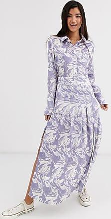 Glamorous Vestito camicia midi con gonna a pieghe e stampa effetto marmo-Multicolore