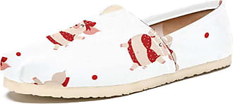Tizorax Slip on Loafer Shoes for Women Summer with Cut Pig in Red Bikini Comfortable Casual Canvas Flat Boat Shoe