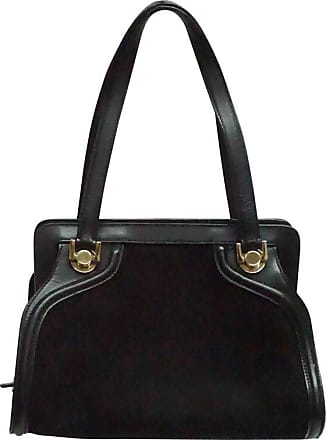 Salvatore Ferragamo Black Suede And Leather Top Handle Handbag 88d5a151c3618