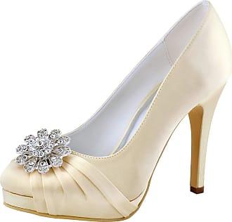Elegantpark EP2015-PF Women Satin Round Toe High Heels Platforms Rhinestones Wedding Party Court Shoes Champagne UK 6(EU 39)