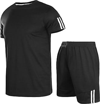 Aibrou Mens Tracksuit Sets Striped Sportswear Set Short Sleeve Top and Shorts for Summer Black