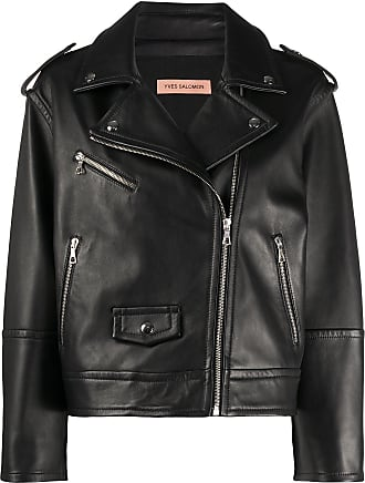 Yves Salomon zipped biker jacket - Black